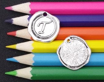 5 PCS - Letter T Alphabet Wax Seal Silver Charm Pendant WS-T