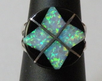 Zuni Opal and Onyx Inlay Signed Sterling Silver Ring Size 5 1/4