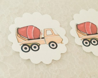 Construction Stickers-Car Cement Truck Stickers-Boy Birthday Shower Stickers-Set of 12