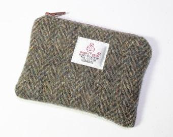 Harris Tweed purse, coin purse, change purse, brown Herringbone tweed