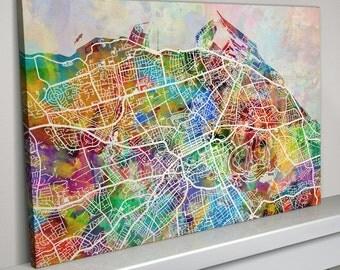 Edinburgh Map, Edinburgh Scotland City Map, Box Canvas Art Print (1348)