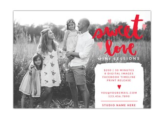 Valentine Minis Photography Marketing board - Photoshop  template - E1259