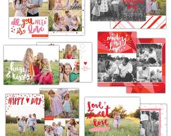 INSTANT DOWNLOAD -  Valentine Photoshop Cards Bundle- E1250