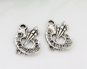 3 Artist Palette Charms Antique Silver 17 x 11 mm - ts1233