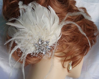 Bridal Fascinator, Wedding Hair Accessory, Feather Headpiece, Wedding Feather Hairclip