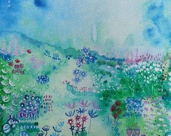 Summer Haze original ink , with mount board, size 24cm x 18cm