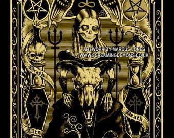 Lowbrow Punk , skulls, Gothic, Skeleton, Skull,Occult, Devil, Victorian Art Print by Marcus Jones