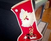 Vintage Christmas Stocking Santa Sequins and Beads, Retro Adorable