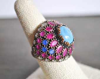 Sterling silver TURQUOISE and RUBY RING