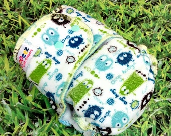 One-Size Fitted Cloth Diaper - Velour Ooga Booga Print