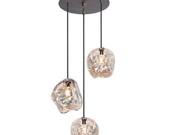 Pendant Light Set, Brushed Bronze, 3 pc set lighting, Glass Lighting, Blown Glass Lighting, Blown Glass Pendant Lights, Lighting