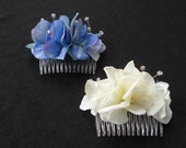 One blue or ivory hydrangea fabric flower hair comb with diamante detail