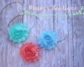 Set of 3- Sky Blue,  Coral and Seafoam Green Pearl Set/ Newborn Headband/ Baby Headband/ Flower Girl/ Photo Prop