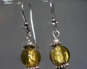 Yellow Dichroic Bead earrings