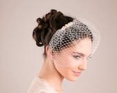 Bridal pearl petite birdcage, Swarovski pearls wedding veil