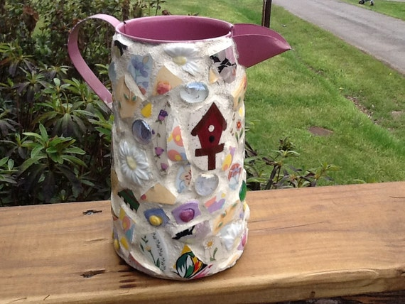 Mosaic watering can unique gift idea by mountainmosaicsmore - Unusual watering cans ...