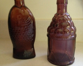 Vintage Wheaton Glass  Fish and Grapes   Brown  Purple  Glass  Antique Glass