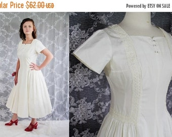 On Sale 50s 60s Kay Windsor Dress, Vintage Wedding, White, Rockabilly