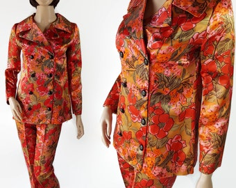60s 70s Satin Suit, Mod, Floral Print, Cigarette Pants, Jacket, Pant Suit