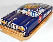 Vintage Tin Friction U.S. Navy Staff Sedan by Nakamura, Japan, 1950s NOS