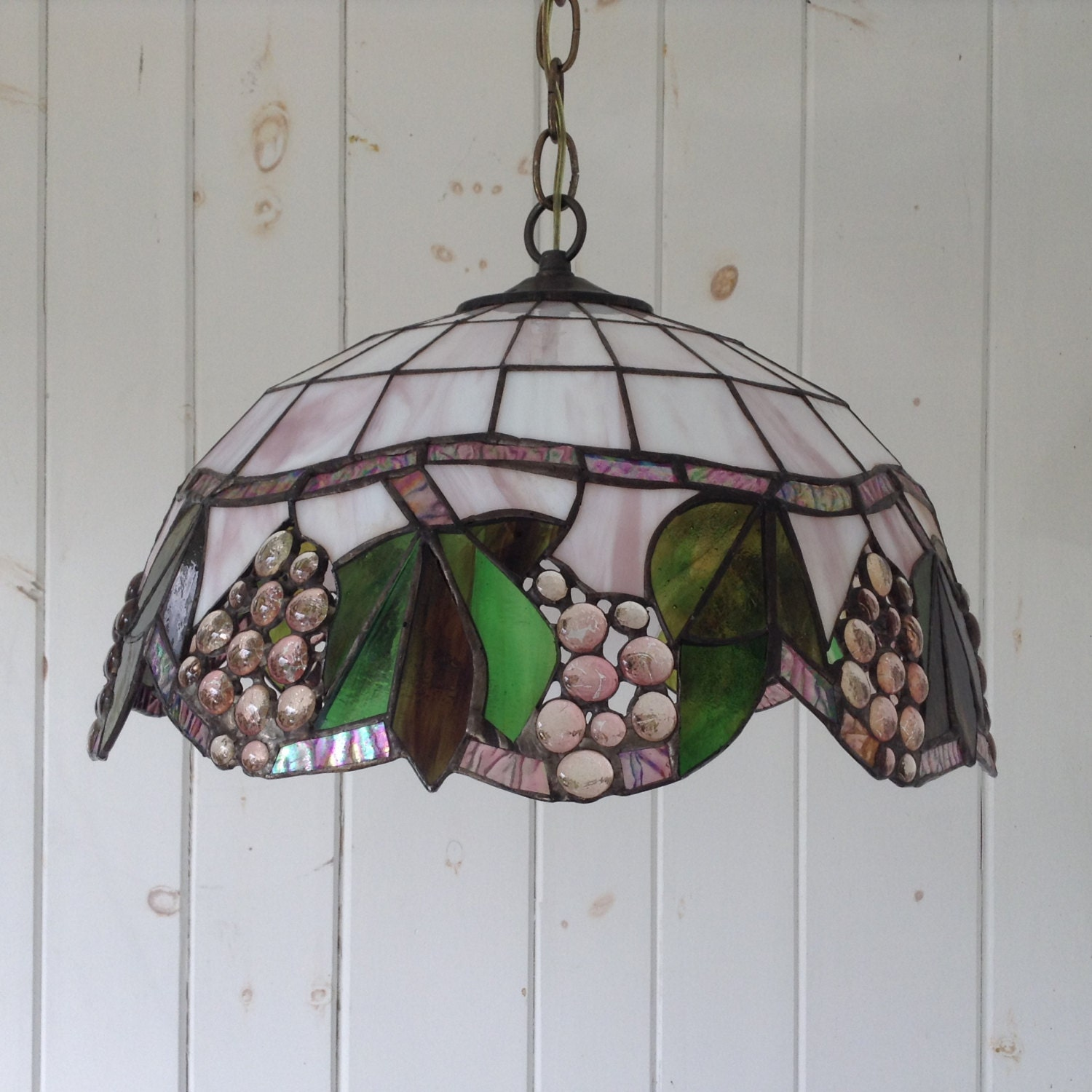 Tiffany Style Stained Glass Hanging Light Fixture Lavender