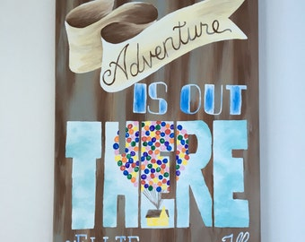 Up Movie Quote Adventure Is Out There Ellie Carl House Balloons Typography Wall Art Words Canvas Painting Inspired Disney Pixar Kid Russell.