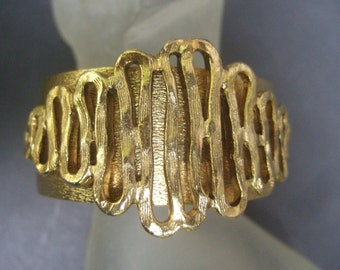 Unique Gilt Metal Cuff Bracelet c 1970s