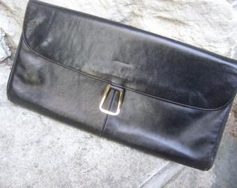 RODO ITALY Sleek Black Leather Clutch