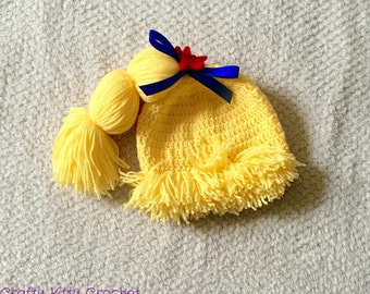 Crochet Rainbow Brite-Inspired Hat - Babies, Toddlers, Kids - Pretend Play, Costume