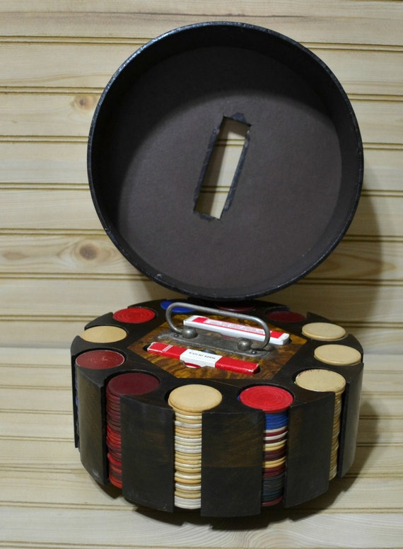 Vintage Poker Caddy Wooden Carousel Lazy Susan Pinochle Card
