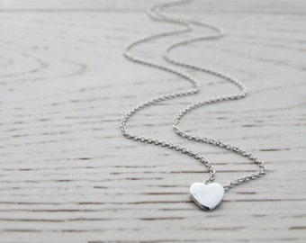 Tiny Silver Heart Necklace - Sterling Silver