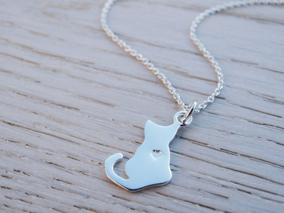 Silver Cat Necklace - Heart - Sterling Silver