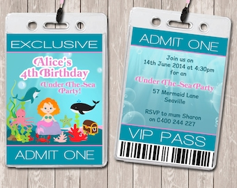 Under The Sea Personalised VIP Lanyard Invitations x 10