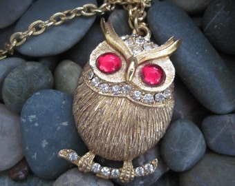 Vintage Gold Tone Owl on Branch Necklace With Red Eyes and Rhinestones