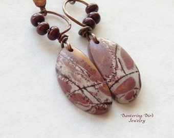 Sonoran Dendritic Rhyolite Earrings, Rosy Brown Stone Slice Earrings, Natural Stone Slab with Hammered Copper, Southwestern Copper Jewelry