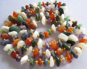 "28.5"" Mixed Semi Precious Stone Necklace with Rich Bright Gold Plated Spacers.  Amethyst, Chalcedony, Carnelian, Sodalite, and more."
