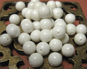 Vintage 8mm Stone Fossil Beads in Snow White.  2 dz.