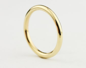 Solid 14k Gold 2mm Full Round Wedding Band - Stacking Gold Ring - in Yellow, Rose, or White Gold