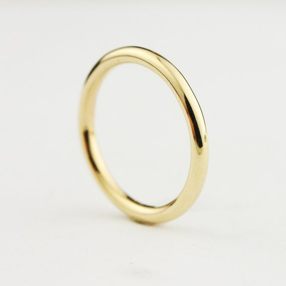 14k Yellow Gold High Polished 2mm Traditional Milgrain: Solid 14k / 18k/ 22k / 24k Gold 2mm Full Round By HoardJewelry