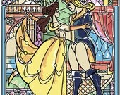 Belle and her Prince, Beauty and the Beast Stain Glass Window.. disney, digital download jpeg