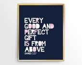 Pink and Navy Girl Printable Nursery Bible Verse print  Every Good and Perfect Gift James 1 17 Printable, DIY,  INSTANT DOWNLOAD (TIPO0038 )