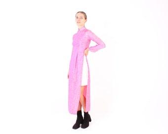 Vietnamese SILK Cheongsam Oriental Collar High Neck Long Sleeve Maxi Dress / Jacket