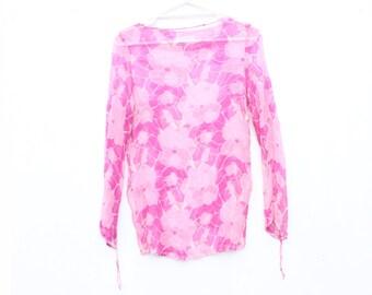 90s PINK SILK Sheer Floral Long Sleeve Gauze Sheath Top / Floaty Mini Dress