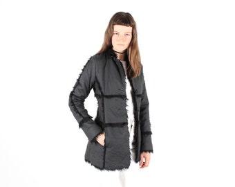 90s Prada Meets Penny Lane PVC Babe Shaggy Faux Fur Collar Groupie Coat / Jacket
