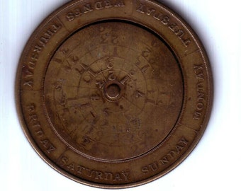 Pennsylvania 1855  Antique Perpetual Calendar Moving Parts Hard To Find