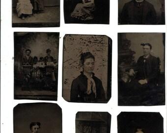 Nine Antique Vintage Tin Type Photographs Victorian Rare