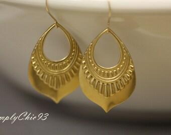 Aztec Earrings, Pattern Earrings, Brass, Stamping Earrings ,Gold Earrings,Boho ,Tribal Jewelry,Bohemian,Stamped Metal Earrings