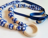 Wood Bead Necklace with Ring - FREE SHIPPING - Blue Gingham Plaid and Natural Wooden Beads - Nursing Teething, Made in USA
