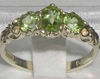 English 10K White Gold Genuine 3 Peridot Promise Ring, English Victorian Style Trilogy Band Ring - Customize: 9K,14K, 18K, Gold