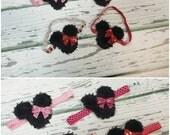 Baby Girls Minnie Mouse Headband, Baby Girl Hair Bows, Headbands, Newborn Headbands, Baby Girl Bows, Shabby Chic Headband, Girls Hair Clips